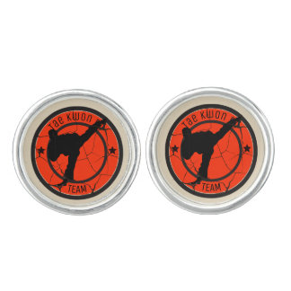 Boutons De Manchette Silhouettedu Taekwondo de combattant du Taekwondo