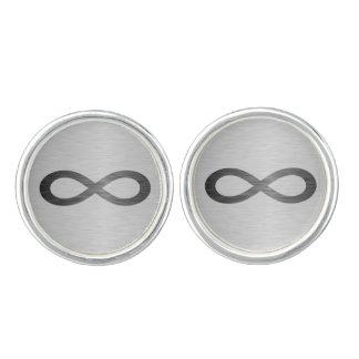 Boutons De Manchette Symbole d'infini sur la texture en métal de Faux