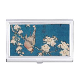 Bouvreuil sur une branche pleurante de cerise par porte-cartes de visite