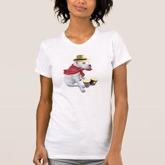 Boxeur blanc avec le T-shirt de bongos
