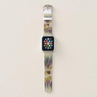 Bracelet Apple Watch Art floral de fractale d'abrégé sur aubergine d'or