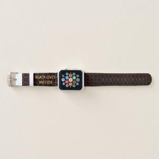 Bracelet Apple Watch Bande de montre noire d'Apple de matière des vies
