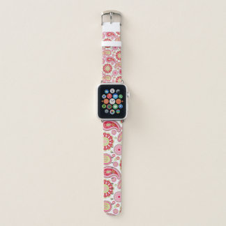 Bracelet Apple Watch Bande de montre rose et rouge de Paisley Apple
