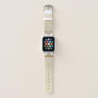 Bracelet Apple Watch Dentelle élégante de mandala d'or avec votre nom