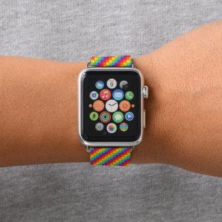 Bracelet Apple Watch Fierté des pixels LGBT d'arc-en-ciel