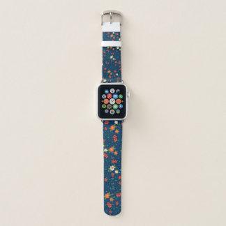 Bracelet Apple Watch impression de fleurs avec fonds bleu