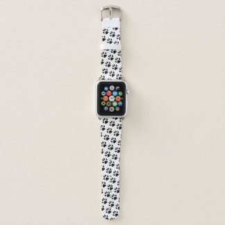 Bracelet Apple Watch Motif blanc de noir d'empreinte de patte de chien