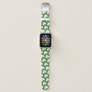 Bracelet Apple Watch Motif blanc de vert chanceux irlandais de shamrock