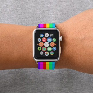 Bracelet Apple Watch Motif de rayure d'arc-en-ciel