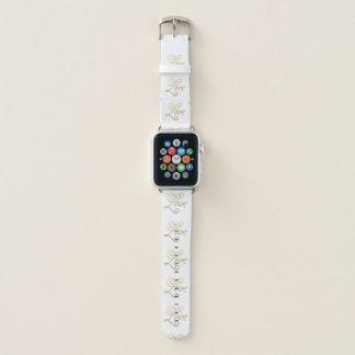 Bracelet Apple Watch Motif élégant de manuscrit d'amour d'or
