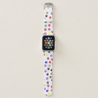 Bracelet Apple Watch Motif mignon coloré d'empreinte de patte de chien