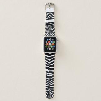 Bracelet Apple Watch Motif rayé de zèbre noir et blanc