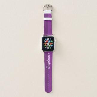 Bracelet Apple Watch Nom personnalisé par aubergine pourpre de deux