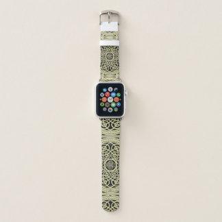 Bracelet Apple Watch Or et mandala celtique de noeud de noir