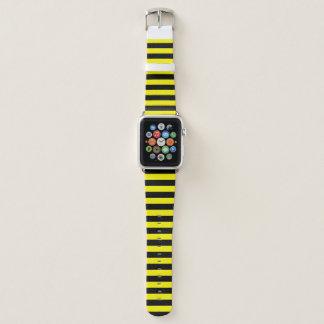 Bracelet Apple Watch Rayure noire et jaune