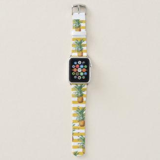 Bracelet Apple Watch rayures jaunes de pinepples