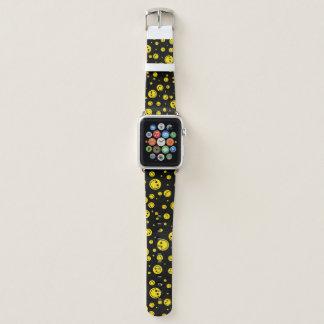 Bracelet Apple Watch Smiley jaunes de point de polka