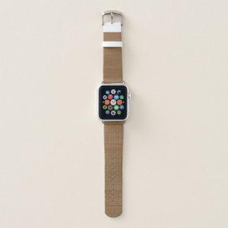 Bracelet Apple Watch Tan et tapis en bambou de paille de Faux de Brown