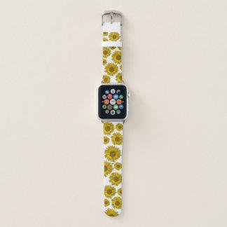 Bracelet Apple Watch Tournesols dispersés par jaune