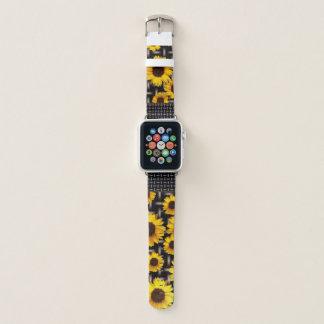 Bracelet Apple Watch Tournesols jaunes lumineux de grille industrielle