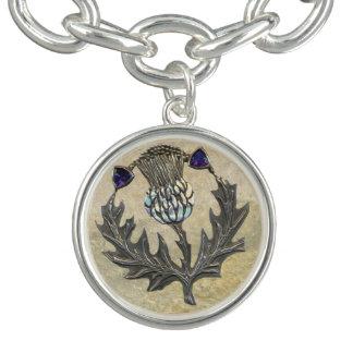 Bracelet argenté de charme de chardon