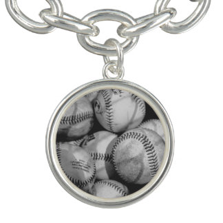 Bracelet Avec Breloques Base-ball en noir et blanc