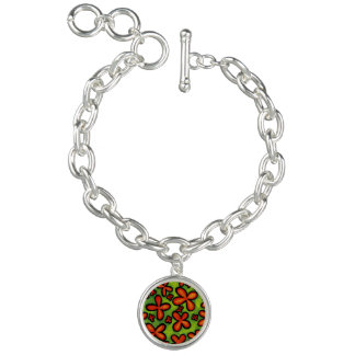 Bracelet Avec Breloques Charme orange abstrait de fleurs