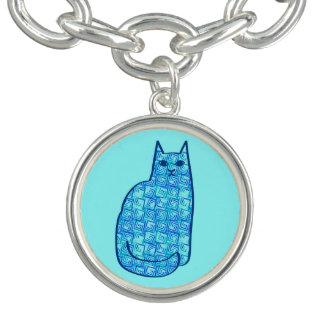 Bracelet Avec Breloques Chat, turquoise et marine modernes de la moitié du