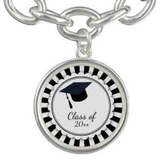 Bracelet Avec Breloques Classe noire et blanche d'obtention du diplôme