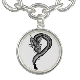 Bracelet Avec Breloques Conception noire et blanche de dragon