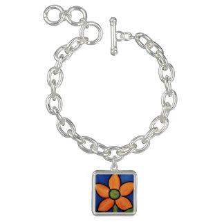 Bracelet Avec Breloques Fleur orange abstraite