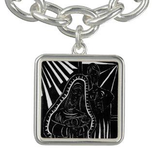 Bracelet Avec Breloques Noël religieux blanc de nativité noire d'abrégé