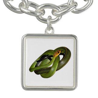 Bracelet Avec Breloques Ratsnake Noir-mis en marge ou serpent de rat vert