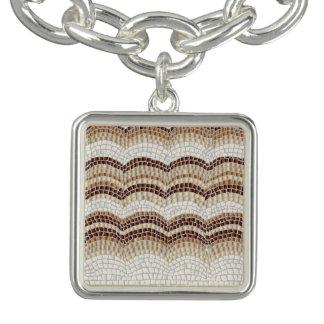 Bracelet beige de charme de carré de mosaïque