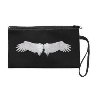 Bracelet blanc de sac d'embrayage de satin d'ailes