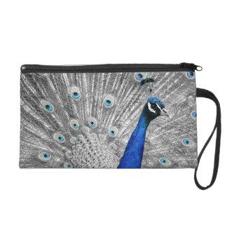 Bracelet bleu de sac d'embrayage de satin de paon