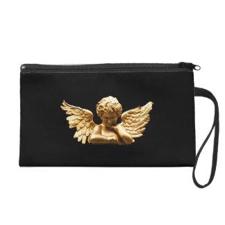 Bracelet de sac d'embrayage de satin d'ange d'or