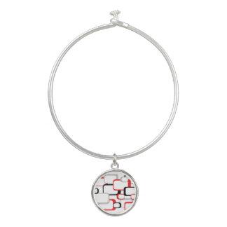 Bracelet Rigide Carrés de rouge, noirs et gris rétros