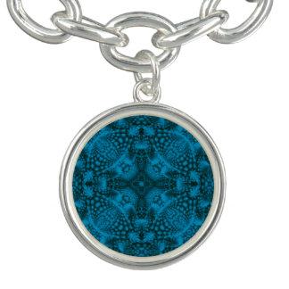 Bracelet vintage noir et bleu de charme de motif