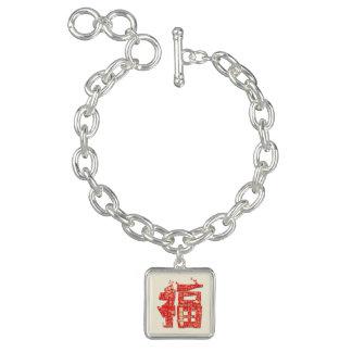 Bracelets Avec Breloques Caractère chanceux chinois de fu de nouvelle année