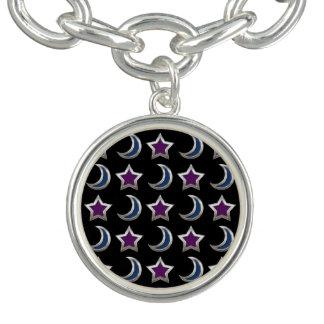 Bracelets Avec Breloques Noir pourpre argenté de motif d'étoiles bleues et