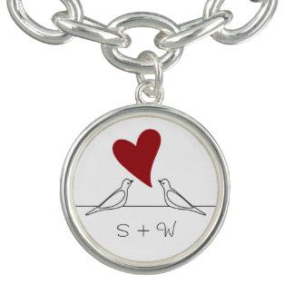 Bracelets Couples modernes simples de monogramme de coeur