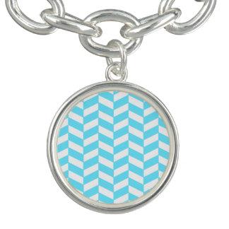 Bracelets Motif bleu lumineux blanc en arête de poisson de