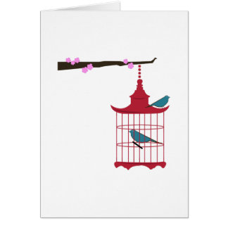 Branche de cage à oiseaux cartes de vœux