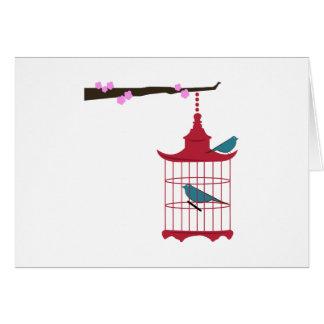 Branche de cage à oiseaux carte de vœux