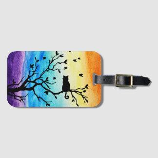 Branche et chat d'arbre de noir d'aquarelle étiquette à bagage