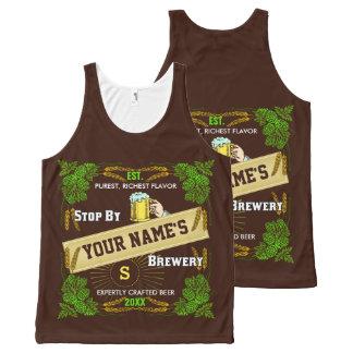 Brasserie de bière avec le nom personnalisé par | débardeur tout-imprimé