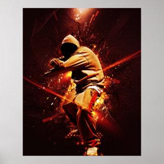breakdancer de hip-hop sur le feu