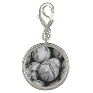 Breloque Avec Photo Base-ball en noir et blanc
