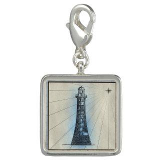 Breloque Avec Photo Copie marine de phare noir avec le cadre bleu